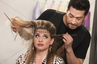 Embarrassed Hairdresser and Client