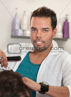 Attractive Latino Hairdresser