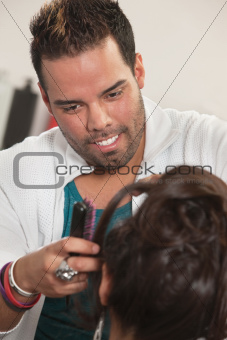 Smiling Latino Hairdresser
