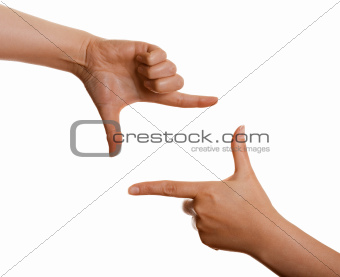 frame of the fingers on a white background