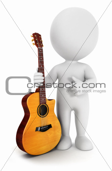 3d white people with an acoustic guitar
