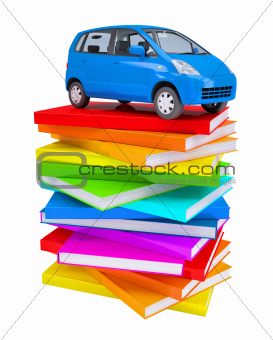 Blue family car on a stack of colorful books
