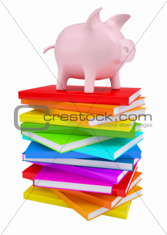 Pink piggy bank on a stack of colorful books