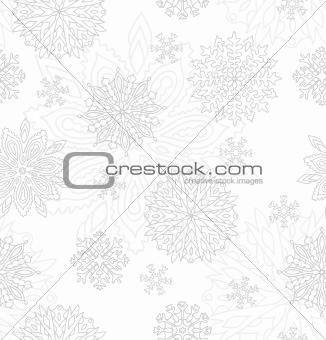 Grey Snowflakes Seamless