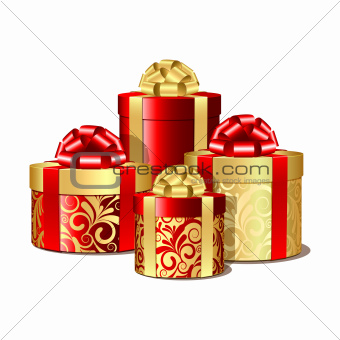 Red and gold gift boxes.