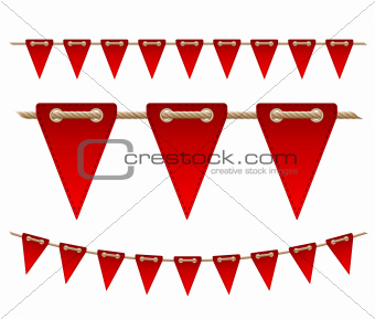 Festive red flags on white background.
