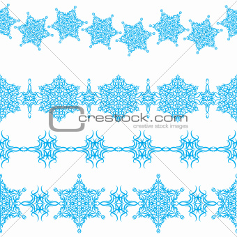 vector set of seamless Christmas ornaments borders