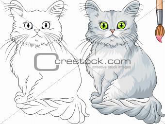 Vector Coloring Book of Tiffany cat