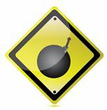 bomb ahead sign