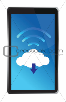 tablet connected to a wifi cloud