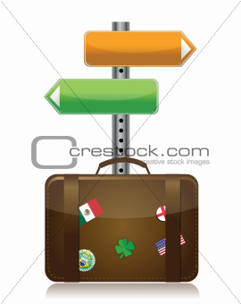 suitcase with destination sign