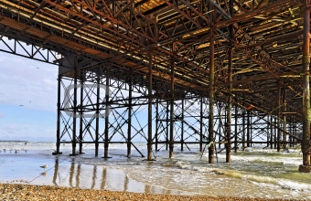 The Brighton Pier seen from underneath