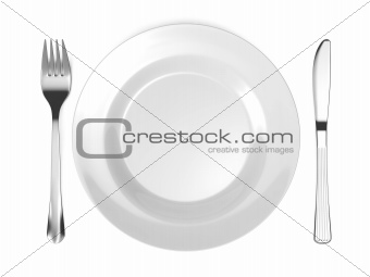 Dinner Place Setting. Plate with Fork and Knife.