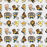 seamless animal soccer pattern