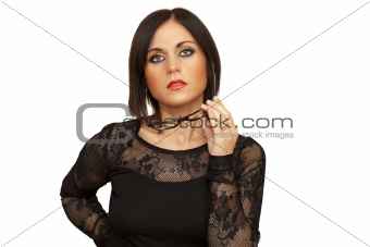 Woman with glasses in hand on a white background