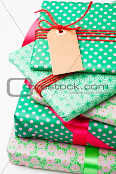 Wrapped gifts with tag
