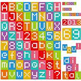 Pixel alphabet. Set of all letters and numbers.