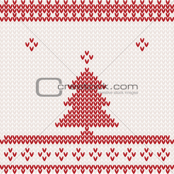 Knitted background with Christmas tree