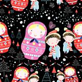 winter texture dolls and children