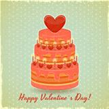 Valentines Cake on Vintage Background