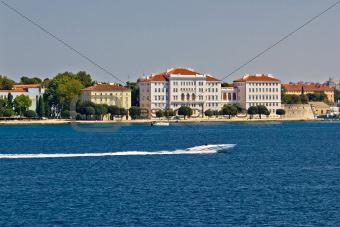 Zadar peninsula waterfront with powerboat