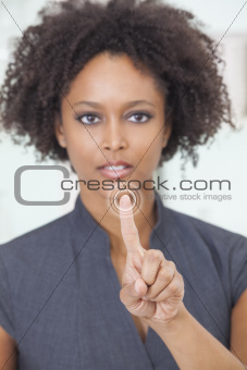 African American Woman Businesswoman Touchscreen Button