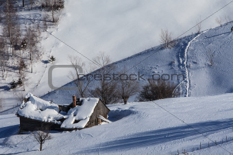 rustic house in winter