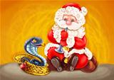 Santa - Snake charmer.