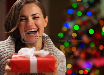 Portrait of happy woman with Christmas present box