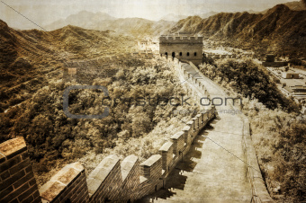 Great wall of China vintage retro view