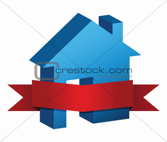 blue house and red banner