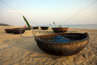 Coracles on beach, Hoi An, Vietnam
