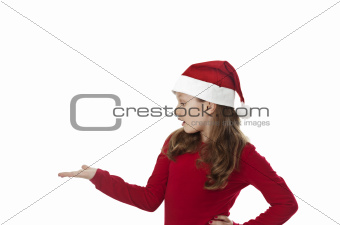 xmas girl, with hand out