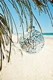 xmas bauble glass glittery at beach