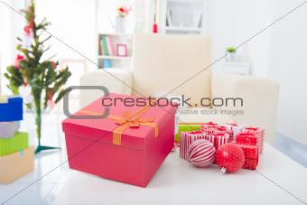 Closeup on table  Christmas decorations