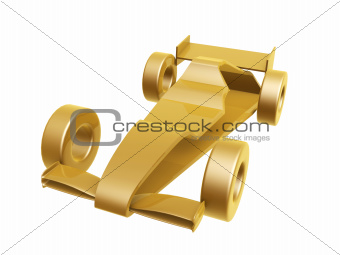 golden race car curve