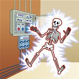 skeleton with electric shock at the control panel