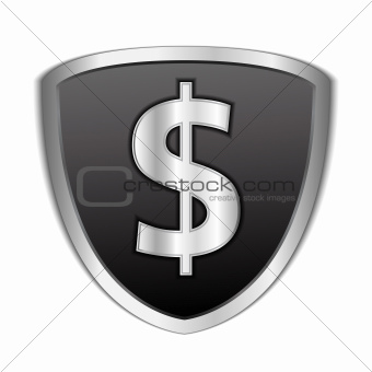 Black shield with dollar symbol