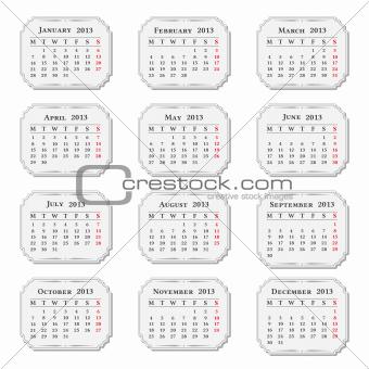 2013 Calendar, vintage style