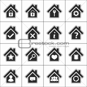 Set of icons with a house