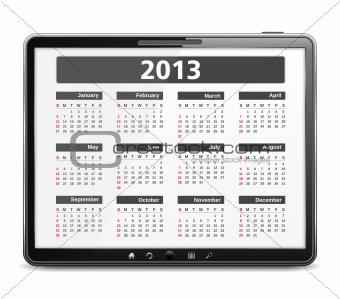 Tabler computer with 2013 calendar