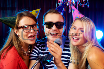 Singing at party