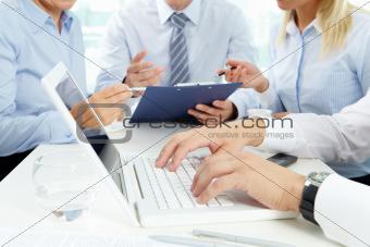 Typing at meeting