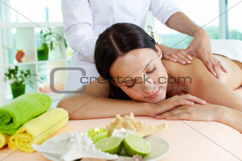 On massage table