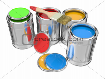 Group of Colorful Paint Cans with Paintbrush.