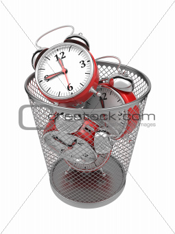 Wasting Time Concept: Clocks in Trash Bin.