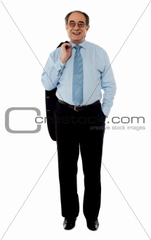Business professional holding his coat