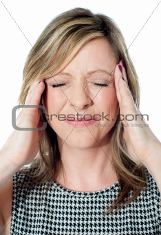 Woman having a bad headache