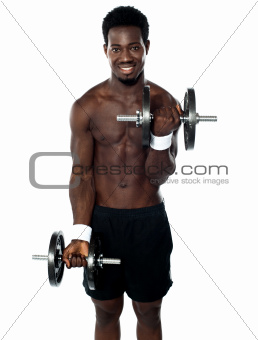 Muscular man doing exercise
