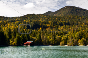 fisherman on boat, Walchensee in Bavaria